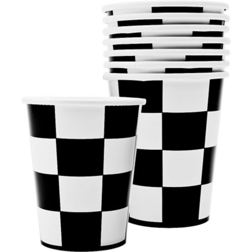 Checkered Party Cups, Black/White, 8-pk