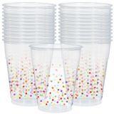 Rainbow Confetti Plastic Cups, 20-pk | Amscannull