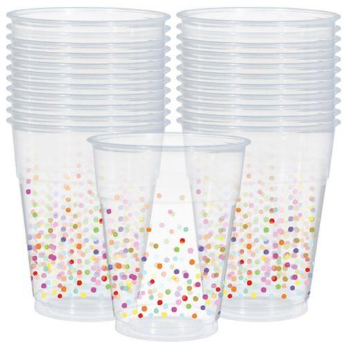 Rainbow Confetti Plastic Cups, 20-pk