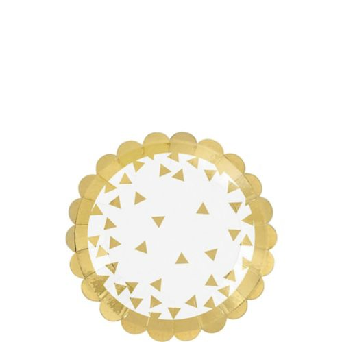 Scalloped Dessert Plates, Metallic Gold, 36-pk