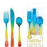 Metallic Rainbow Premium Plastic Cutlery Set, 24-pc