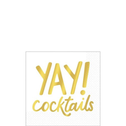 Metallic Gold Yay Cocktails Beverage Napkins, 16-pk