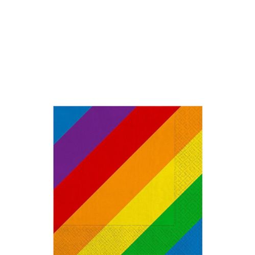 Rainbow Striped Beverage Napkins, 16-pk