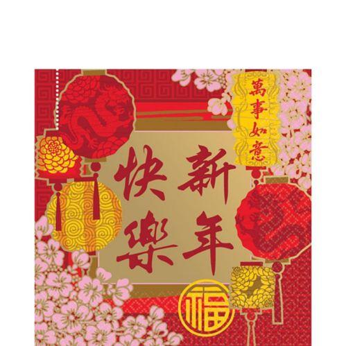 Serviettes de table, motif de bénédictions chinoises, paq. 16