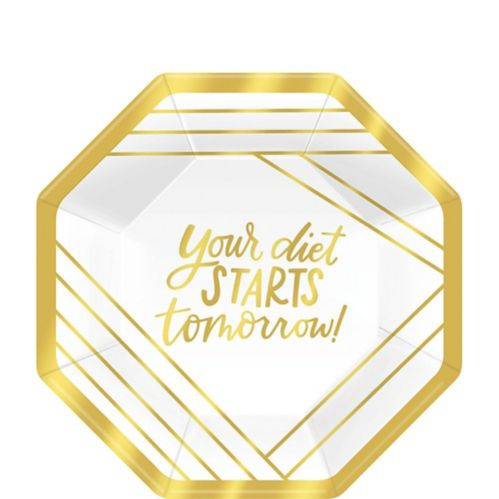Metallic Gold Diet Dessert Plates, 8-pk
