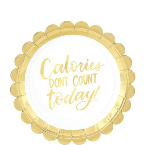 Metallic Gold Calories Scalloped Dessert Plates, 8-pk