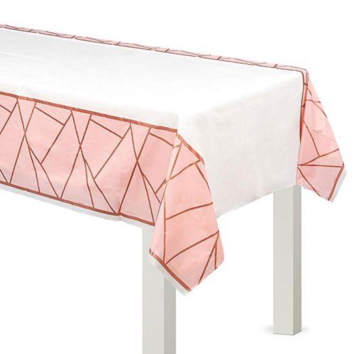 Blush & Rose Gold Plastic Table Cover
