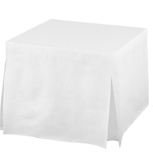 White Flannel-Backed Vinyl Fitted Table Cover