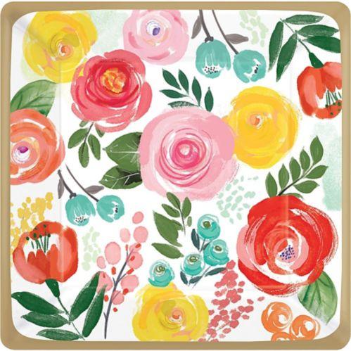 Assiettes à dîner, Fleurs vives, paq. 8
