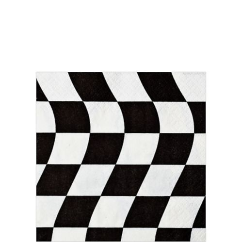 Checkered Flag Beverage Napkins, Black and White, 16-pk