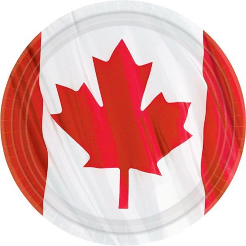 Waving Canadian Flag Dinner Plates