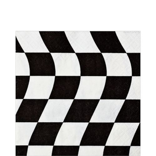 Checkered Flag Lunch Napkins, Black and White, 16-pk Product image