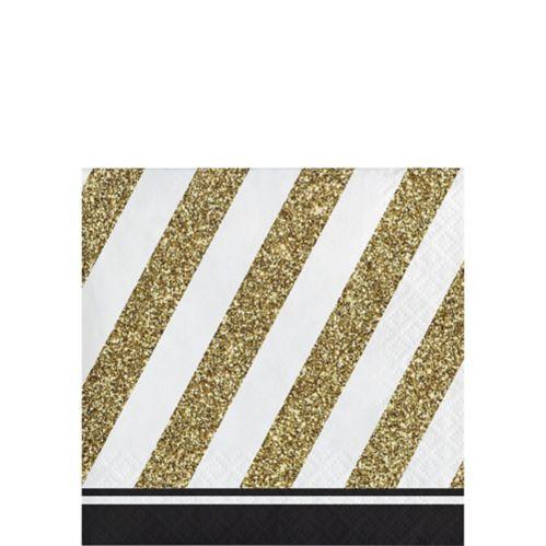 Striped Beverage Napkins, White/Gold, 16-pk