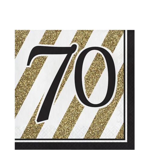 Striped 70 Lunch Napkins, White and Gold, 16-pk