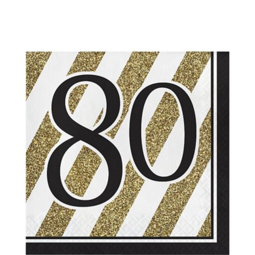 Serviettes de table rayées80, blanc/or, paq. 16