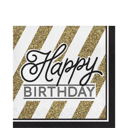 Serviettes de table rayées Happy Birthday, blanc et or, paq./16