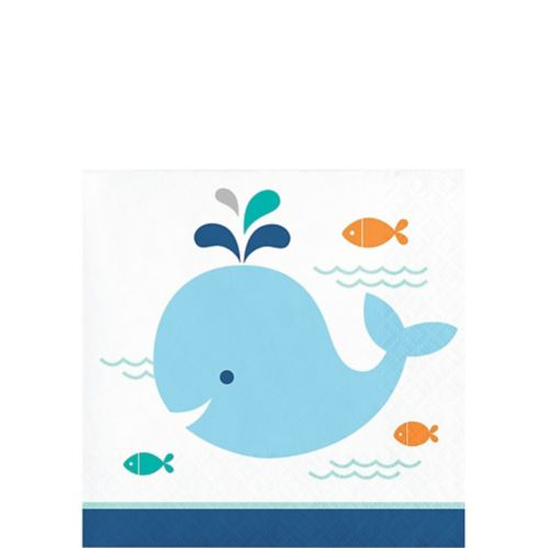Blue Baby Whale Beverage Napkins, 16-pk