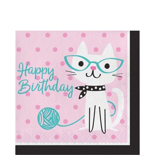 Serviettes de table d'anniversaire Fête de chat, paq. 16