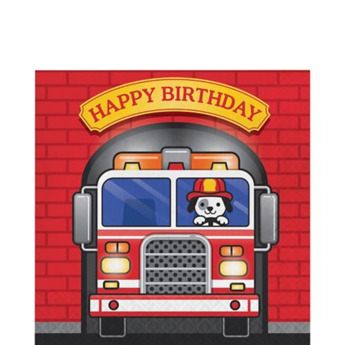 Fire Truck Birthday Lunch Napkins, 16-pk