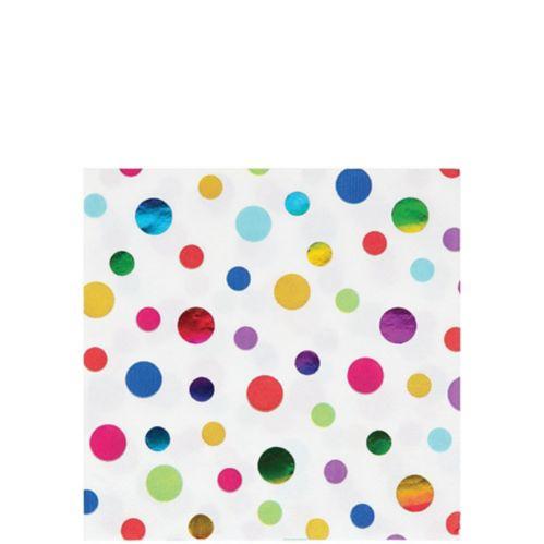 Metallic Rainbow Dot Beverage Napkins, 16-pk