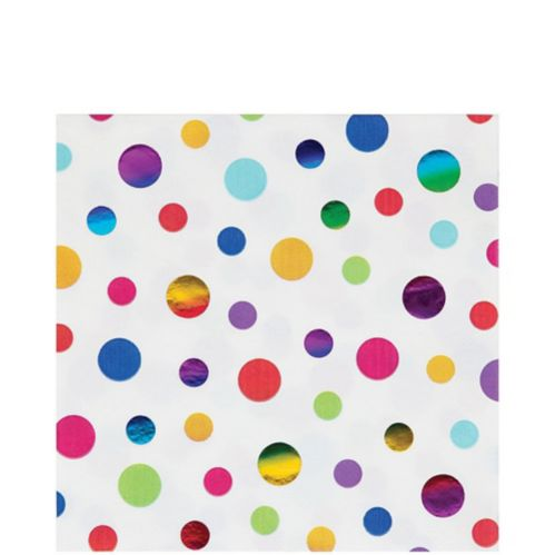 Metallic Rainbow Dot Lunch Napkins, 16-pk