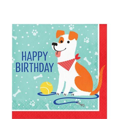 Serviettes de table Happy Birthday avec chien, paq. 16