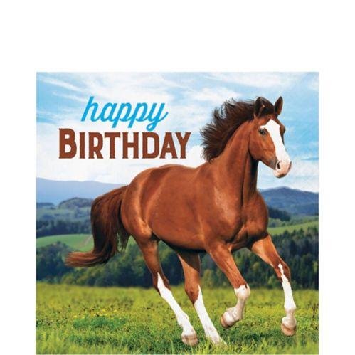 Serviettes de table Happy Birthday avec chevaux, paq. 16
