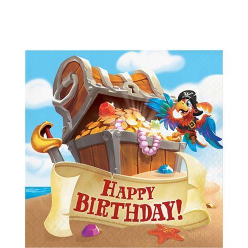 Treasure Island Pirate Happy Birthday Lunch Napkins, 16-pk