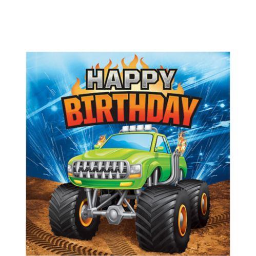 Serviettes de table Happy Birthday avec camions monstres, paq. 16