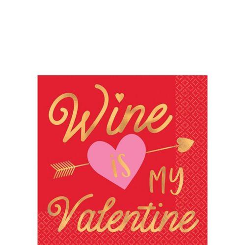 Serviettes à boisson Wine is My Valentine, paq. 16