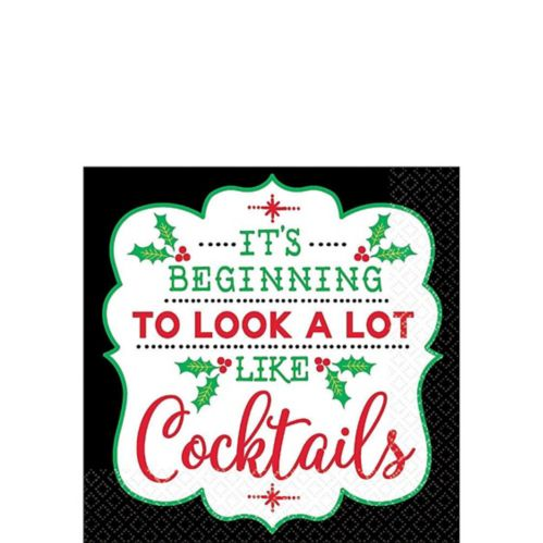 Cocktail Christmas Beverage Napkins, 16-pk