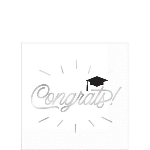 Metallic Grid Graduation Beverage Napkins, 16-pk Product image