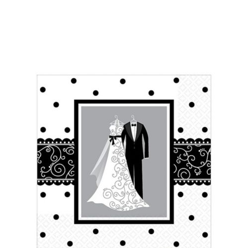 Black & White Wedding Beverage Napkins, 16-pk