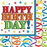 Value Colourful Birthday Napkins, 16-pk