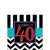 Serviettes de table 40e anniversaire, paq. 16