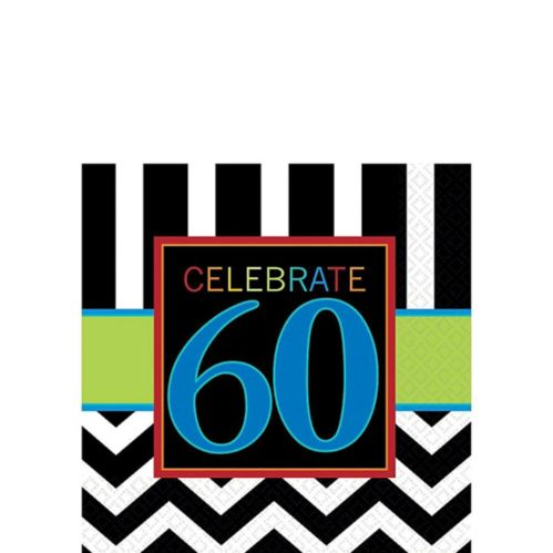 Celebrate 60th Birthday Beverage Napkins, 16-pk