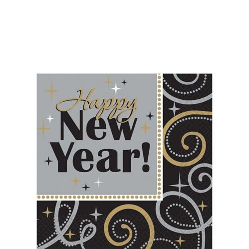 Sparkling New Year's Beverage Napkins, 16-pk