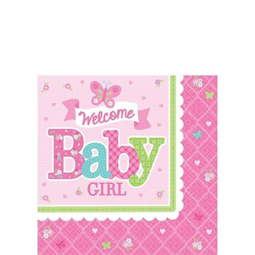 Welcome Baby Girl Baby Shower Beverage Napkins, 16-pk