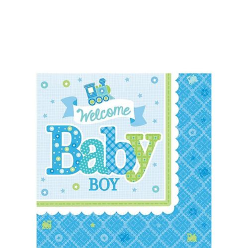 Welcome Baby Boy Baby Shower Beverage Napkins, 16-pk