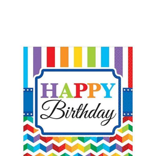 Rainbow Chevron Birthday Beverage Napkins, 16-pk Product image