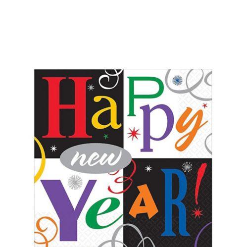 Serviettes de table festives Nouvel An aux tons de joyaux, paq. 16