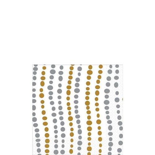 Metallic Silver & Gold Wavy Dots Beverage Napkins, 16-pk