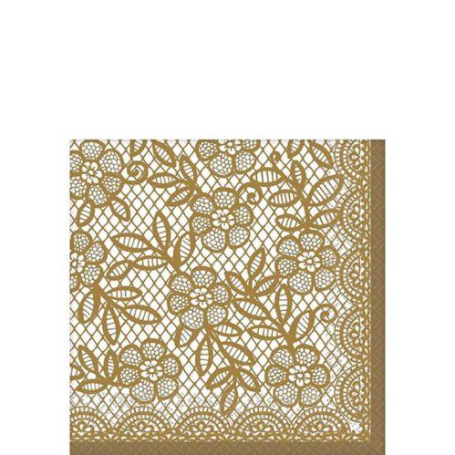 Serviettes à boissons Délicate dentelle dorée, paquet de 16 Image de l'article