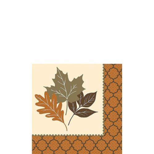Copper Leaves Beverage Napkins, 16-pk