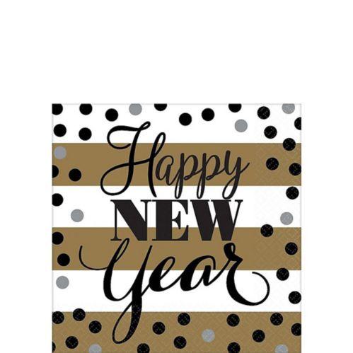 Golden Pattern New Year's Beverage Napkins, 16-pk