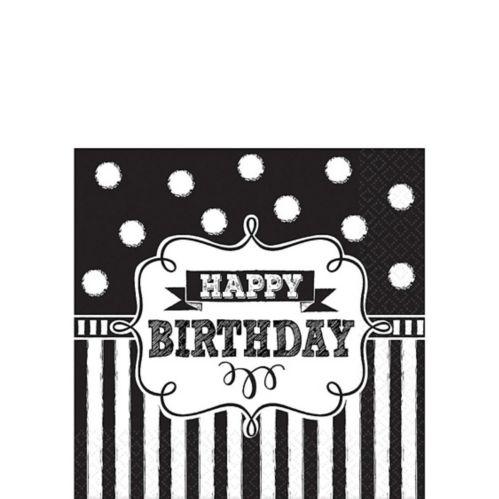 Serviettes à boisson d'anniversaire, tableau noir, paq. 16 Image de l'article
