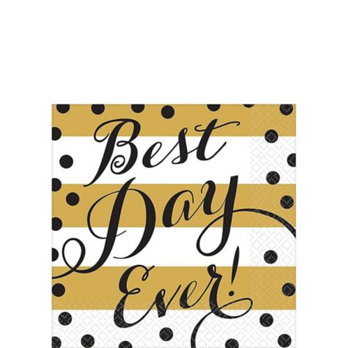 Best Day Ever Wedding Beverage Napkins, 16-pk