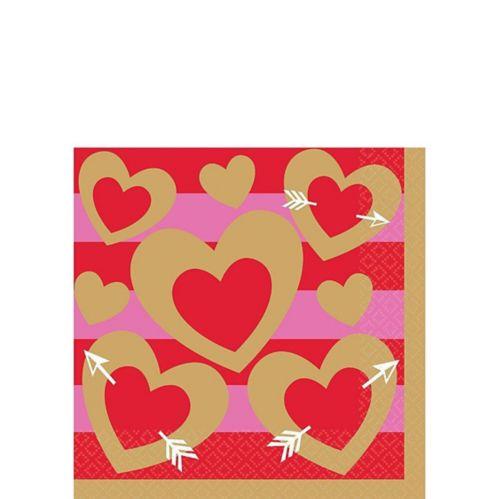 Heart of Gold Valentine's Day Beverage Napkins, 16-pk