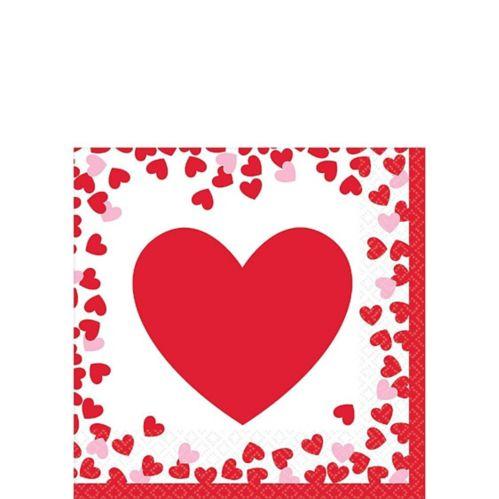 Serviettes à boisson de la Saint-Valentin, coeurs confettis, paq. 16