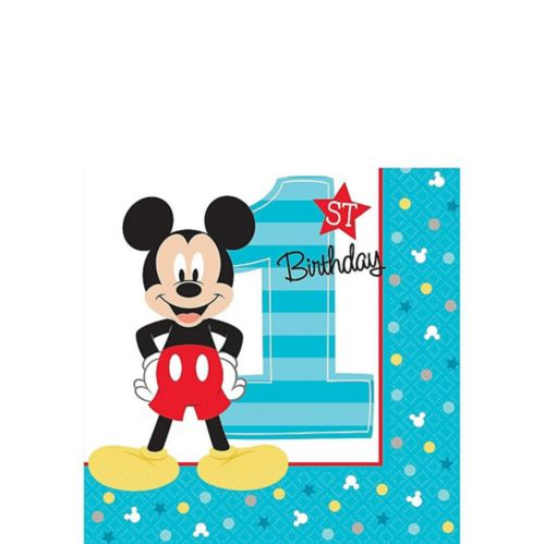 1st Birthday Mickey Mouse Beverage Napkins, 16-pk Product image